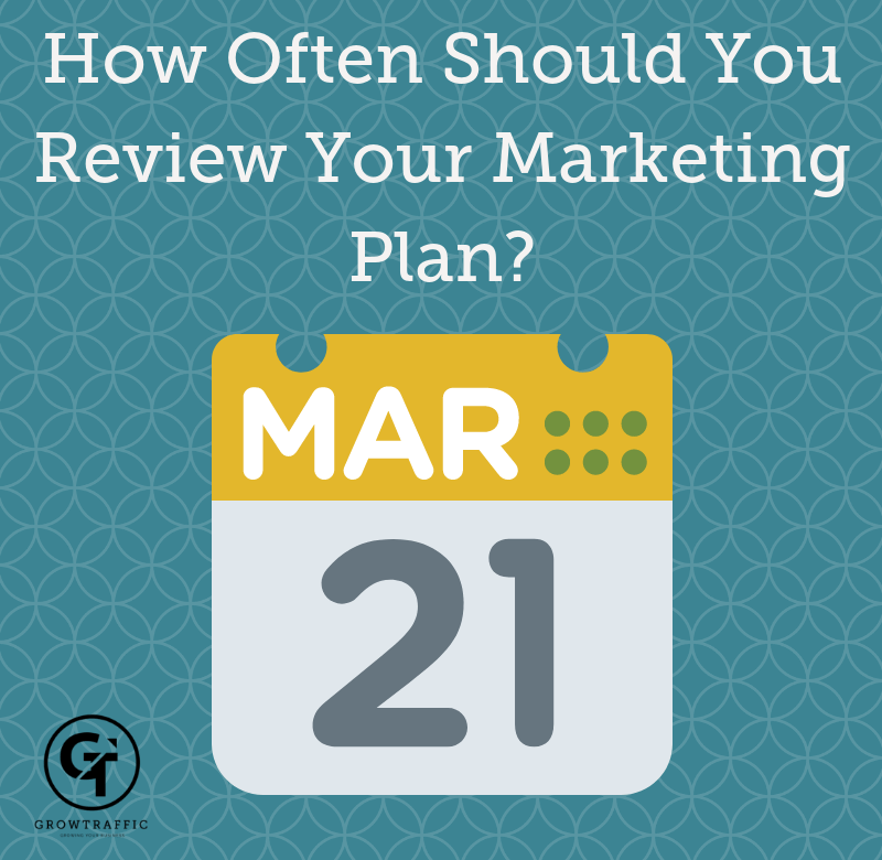 title graphic for GrowTraffic blog entitled How Often Should You Review Your Marketing Plan