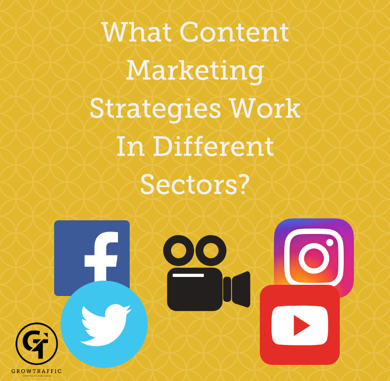GrowTraffic blog header titled What Content Marketing Strategies Work In Different Sectors?