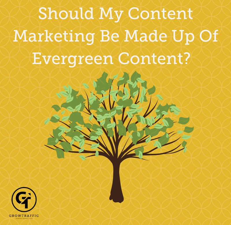 Title graphic for GrowTraffic blog entitled Should my content marketing be made up of evergreen content