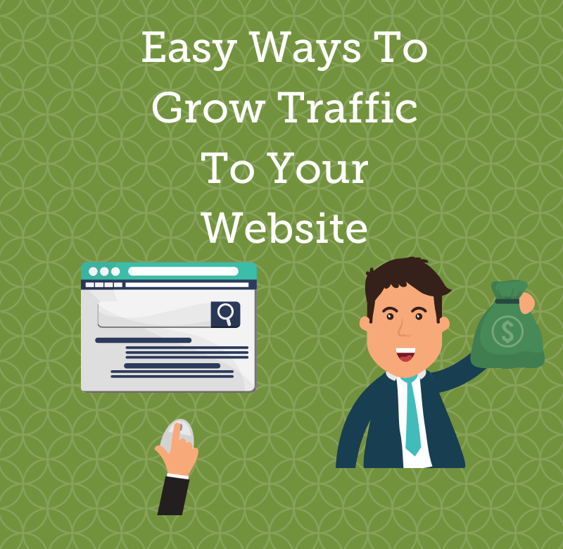 the image is a grow traffic blog header titled easy ways to grow traffic to your website