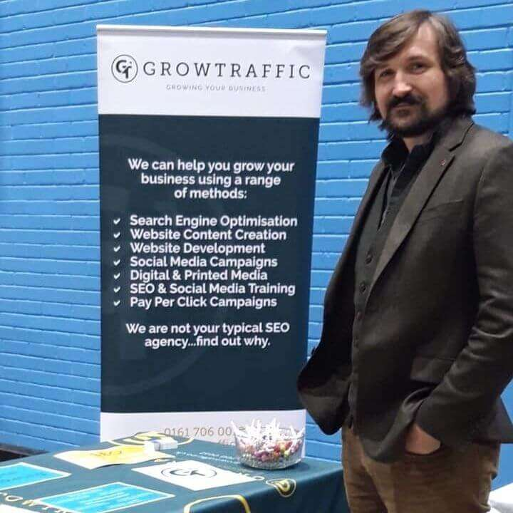 Simon Dalley At Exhibition For GrowTraffic