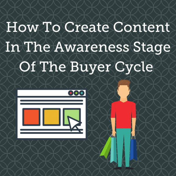 the image is a gt blog header titled How To Create Content In The Awareness Stage Of The Buyer Cycle