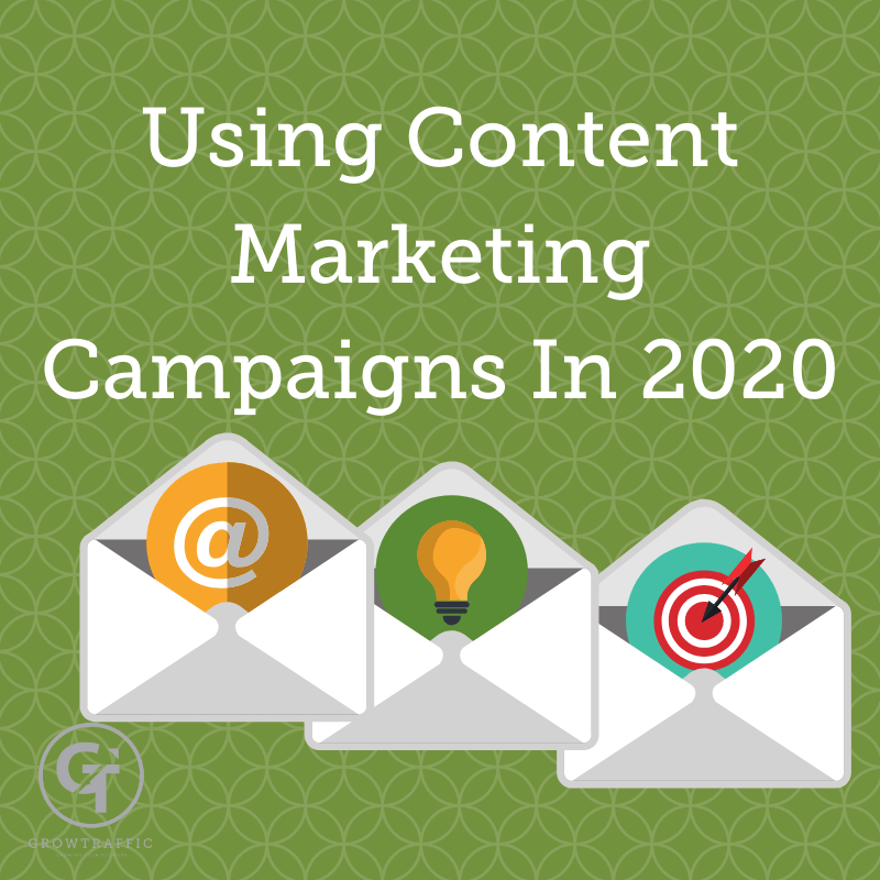 The image is a GT Blog header called Using Content Marketing Campaigns In 2020