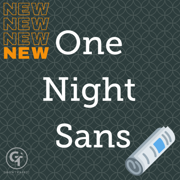 The image is a GrowTraffic blog header titled One Night Sans