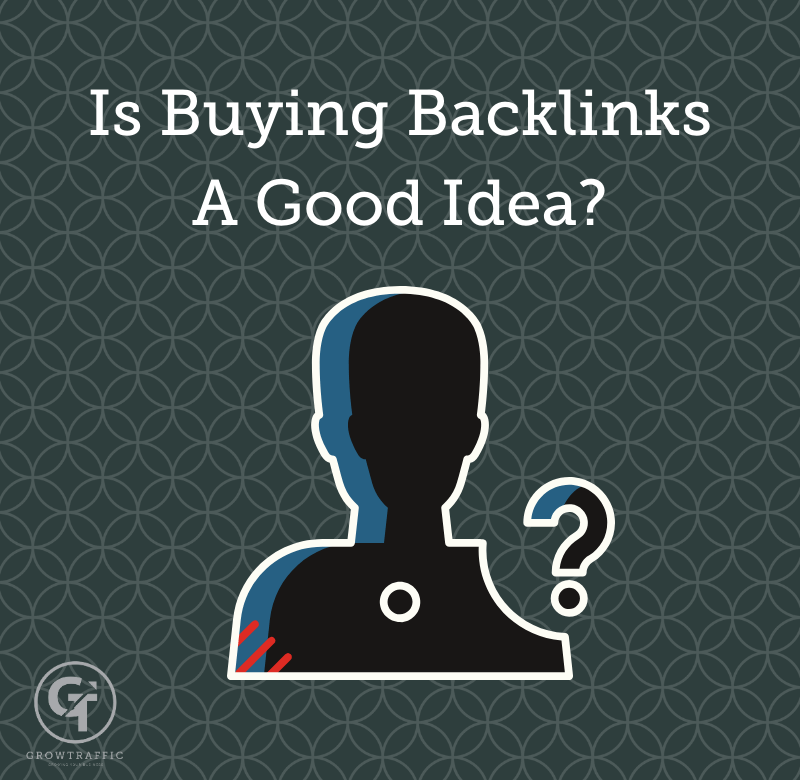 The image is a GrowTraffic Blog titled Is Buying Backlinks A Good Idea?