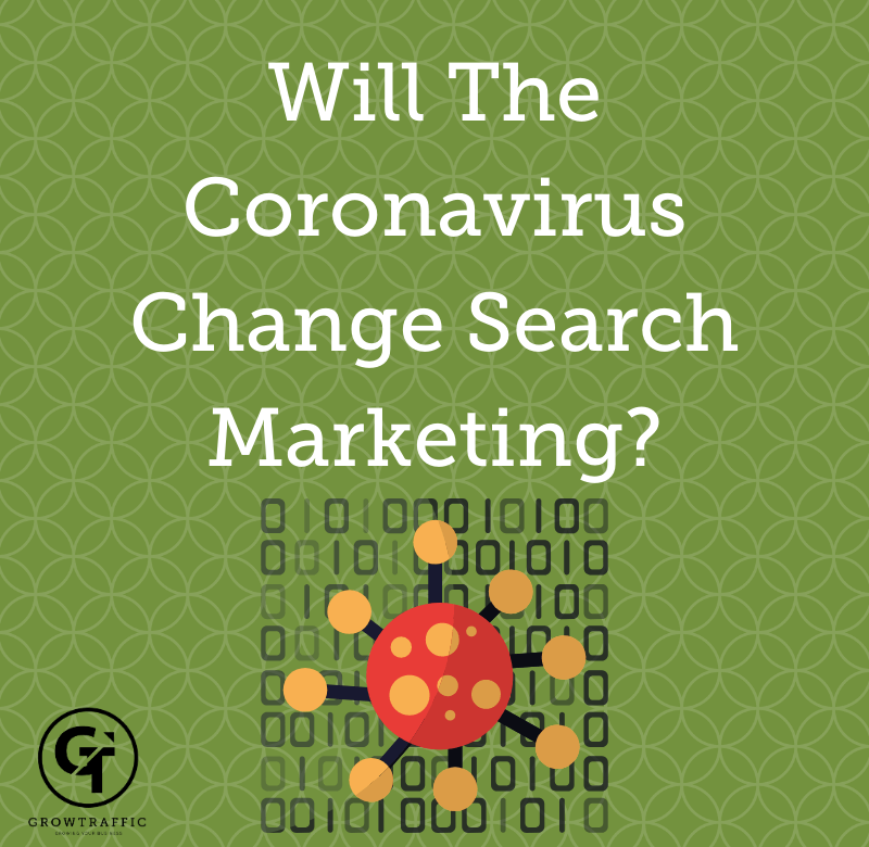 The image is a GT Blog Titled Will The Coronavirus Change Search Marketing