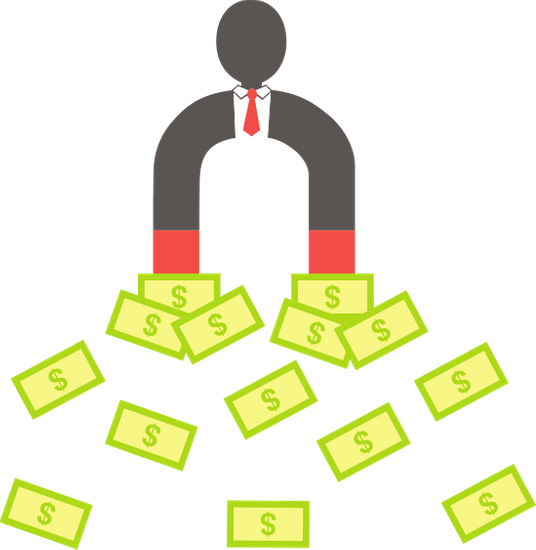 the image shows a business person attracting money