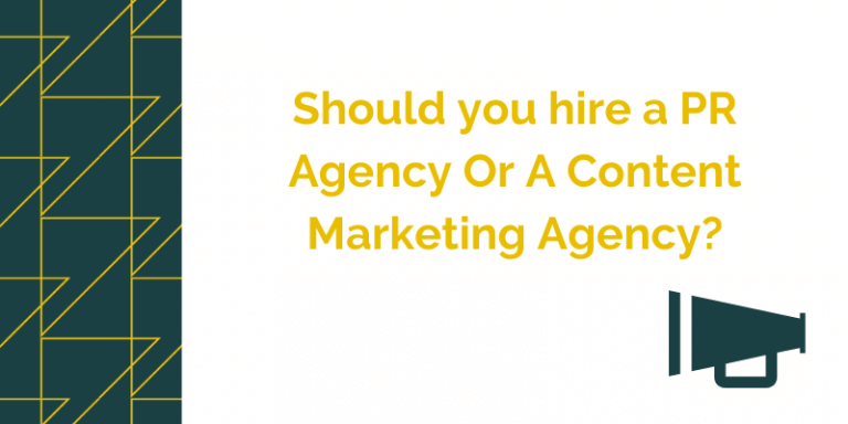 blog header image for a post about the diffrences between hiring a content marketing agency or a pr agency