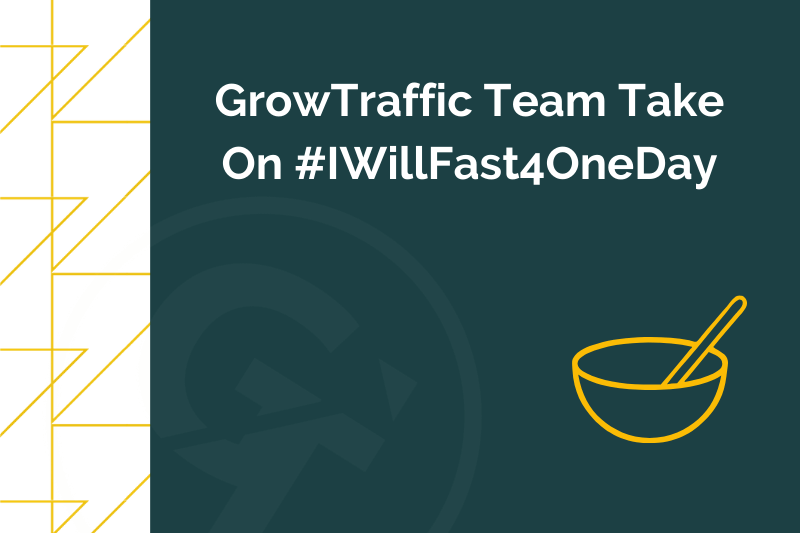 Title graphic for GrowTraffic blog about #IWillFast4OneDay to raise money for NHS