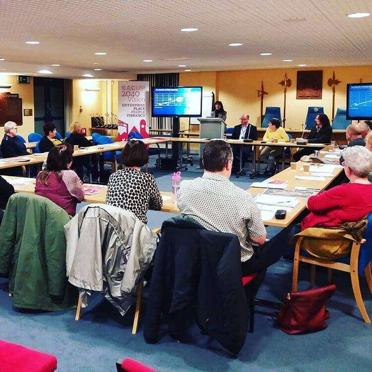 Simon Dalley Chairing Bacup 2040 Partnership Board