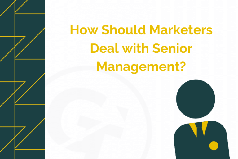 image is a blog header post for a a blog about marketer dealing with managers