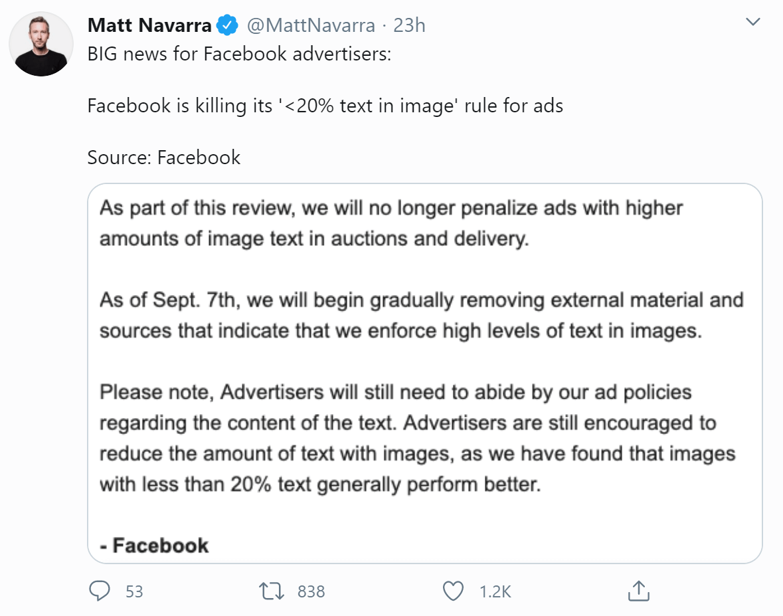 a tweet from Matt Navarra regarding Facebooks removal of the 20% text limit rule