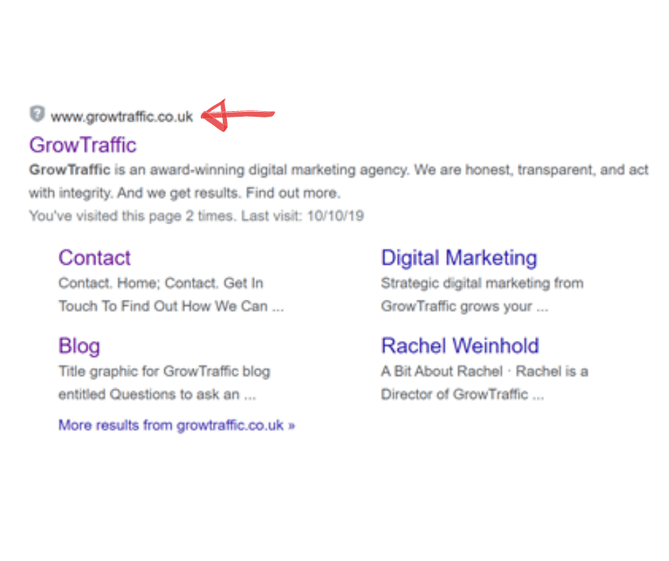 structuring URL for SEO image of GrowTraffic URL