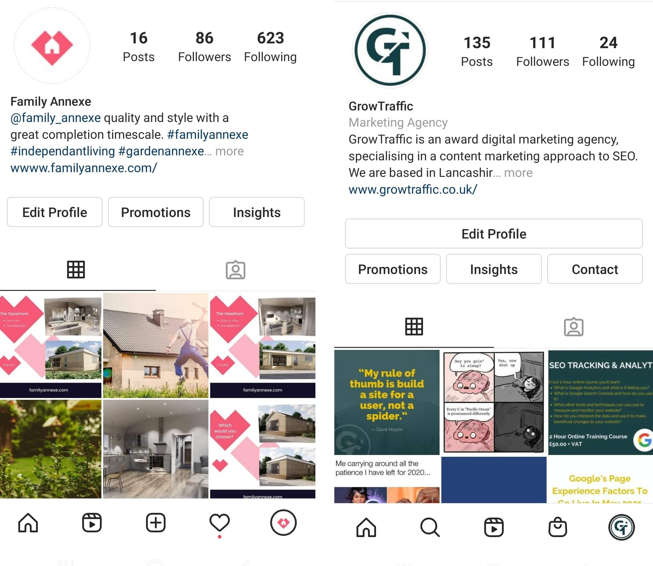 Different Instagram Footer Bars
