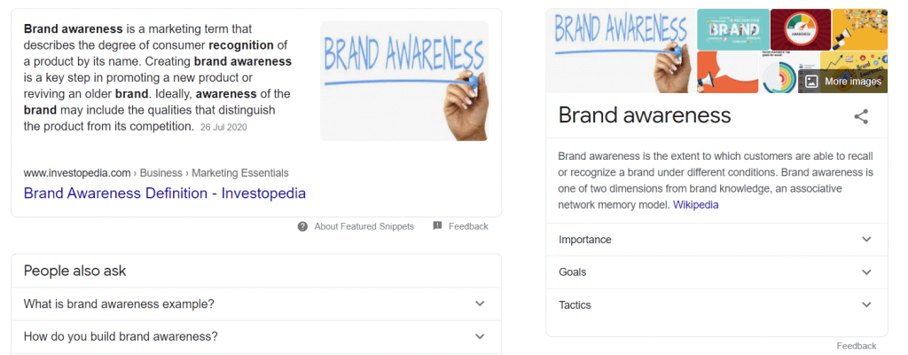 featured snippet vs knowledge panel