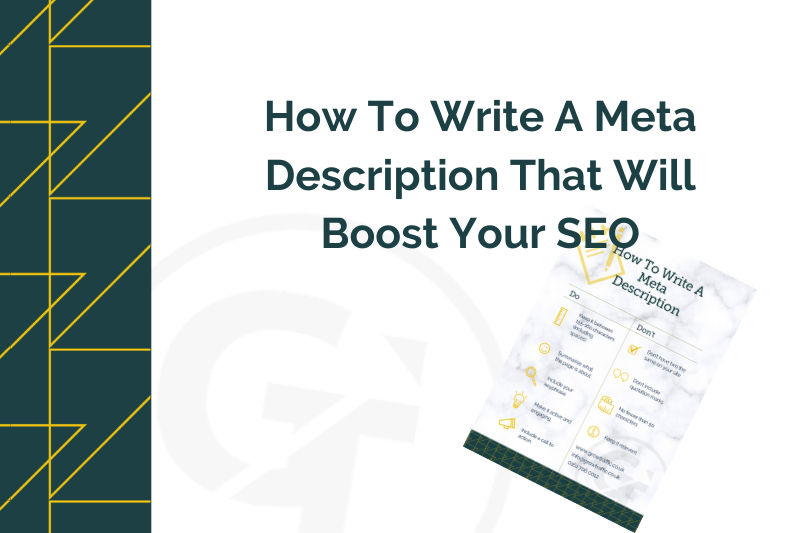 title graphic for blog by GrowTraffic on how to write a meta description to boost your SEO