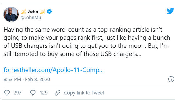 John tells us what a good website needs word count