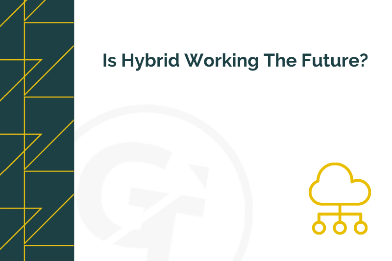 Title graphic for GrowTraffic blog about hybrid working