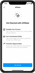 A phone displaying Instagram's new native affiliate tool
