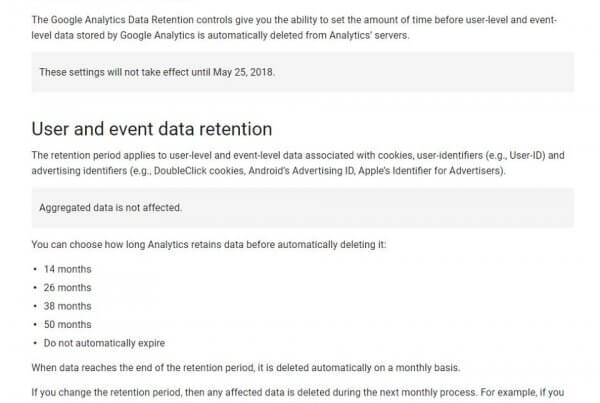 Data Retention in Google Analytics