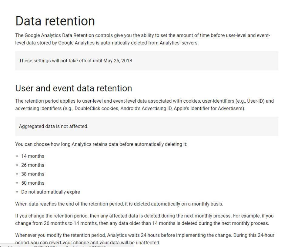 Data Retention in Google Analytics