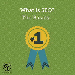 GT totle graphic for What is SEO. Rosette on green background.