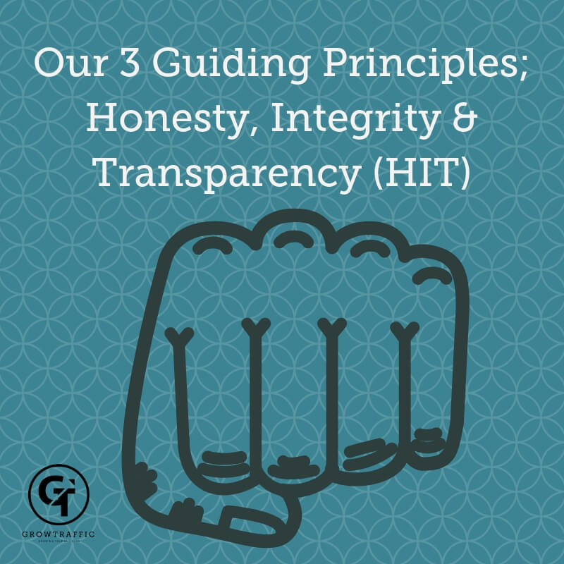 GrowTraffic's Core Values – Honesty, Integrity and Transparency